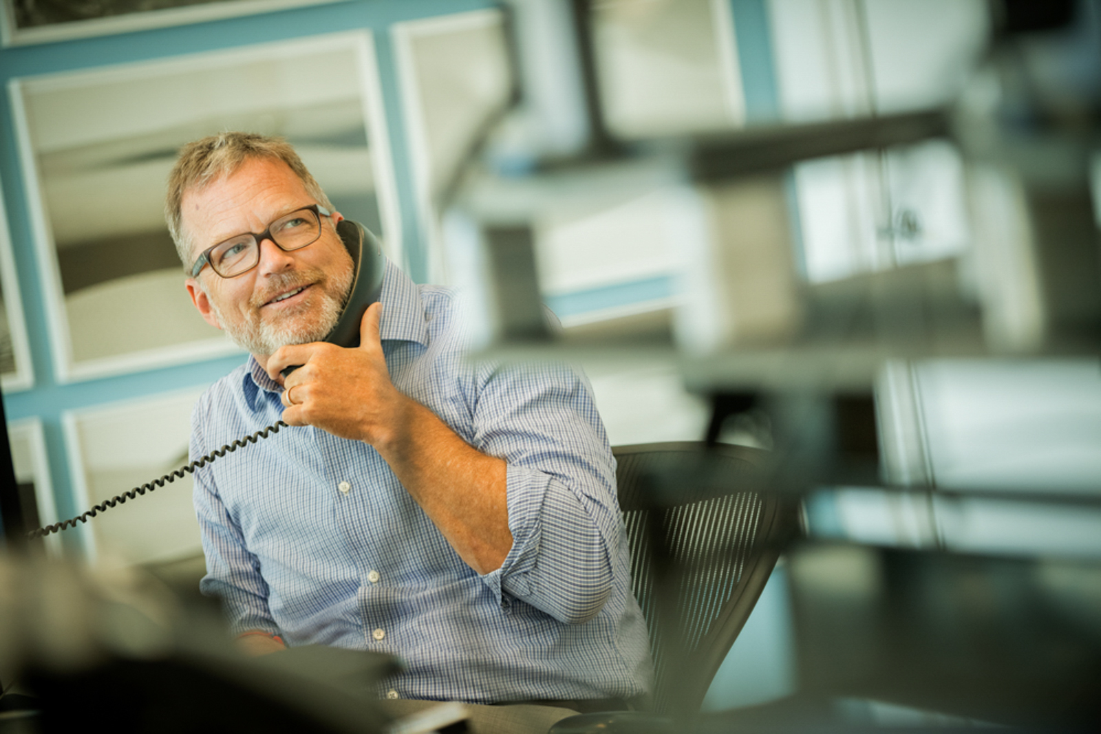 business man on phone in office